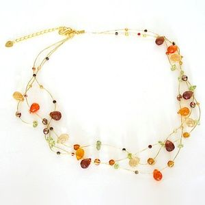 Triple Strand Crystal Necklace Fall Colors